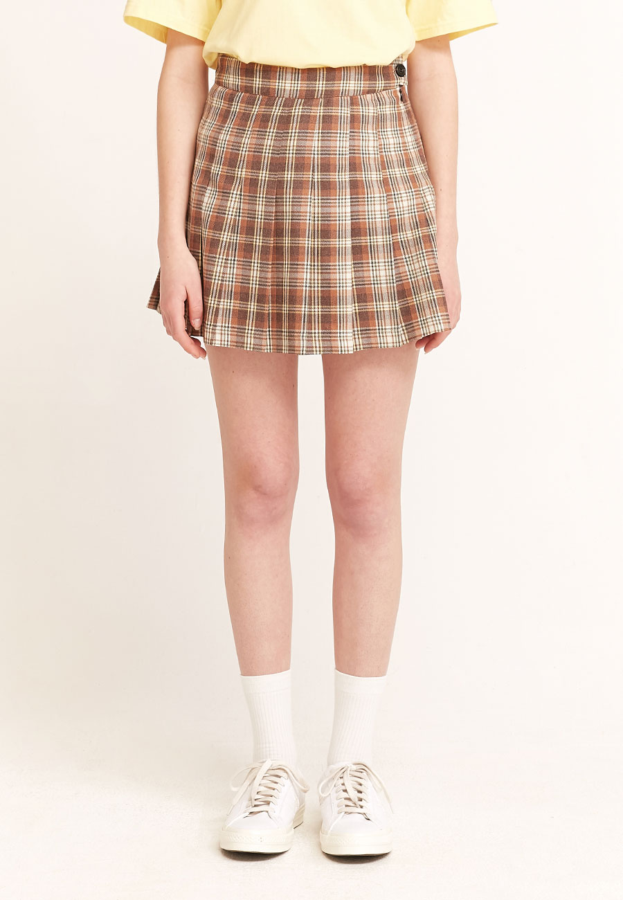 CLOTTY LOGO LABEL PLEATS SKIRT[BROWN]