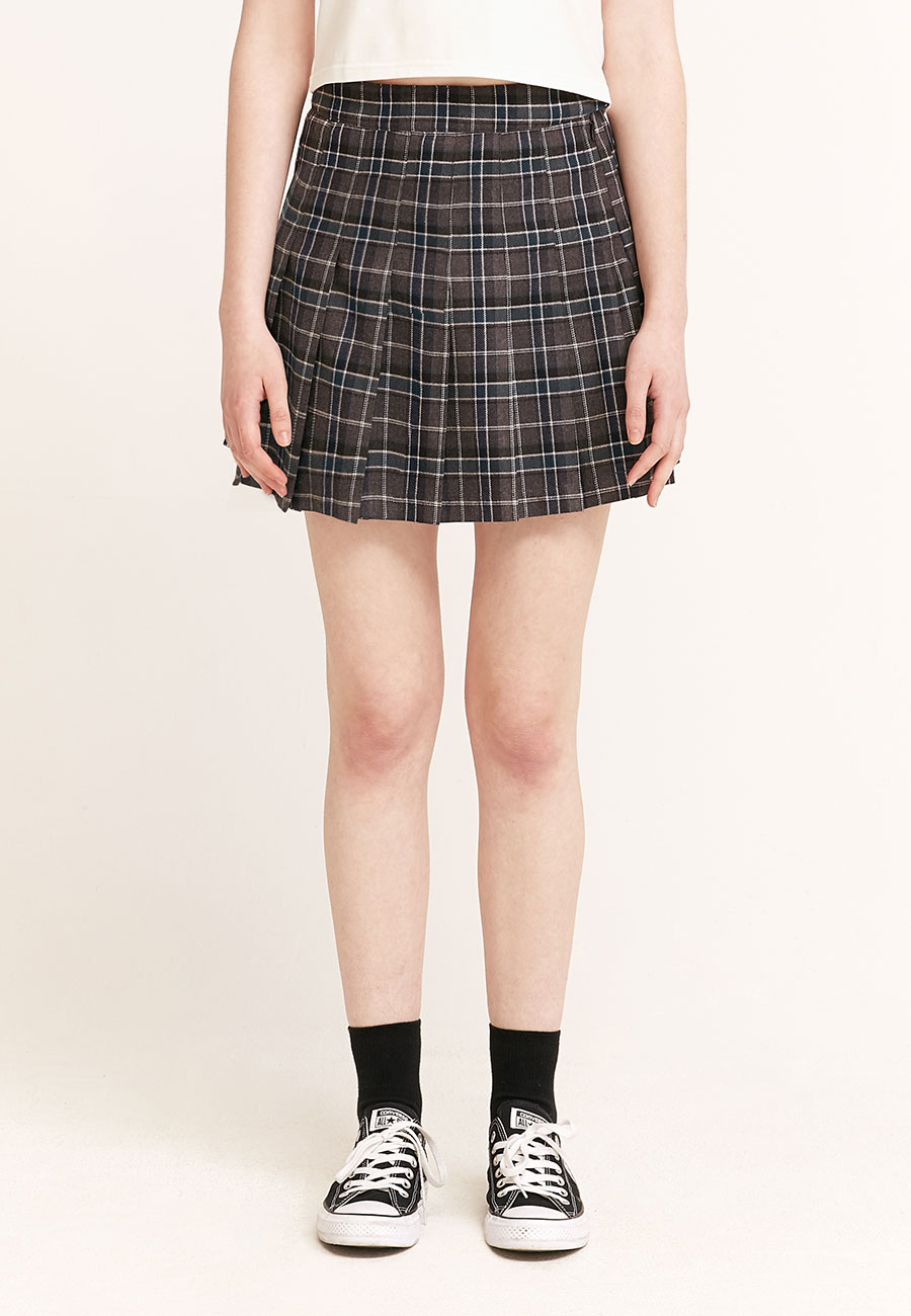 CLOTTY LOGO LABEL PLEATS SKIRT[GREY]