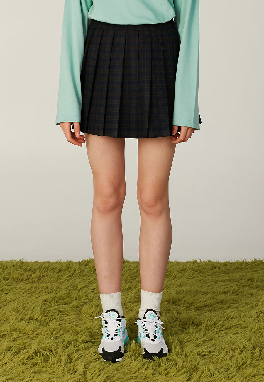 CLOTTYLOGO LABEL PLEATS SKIRT[NAVY]