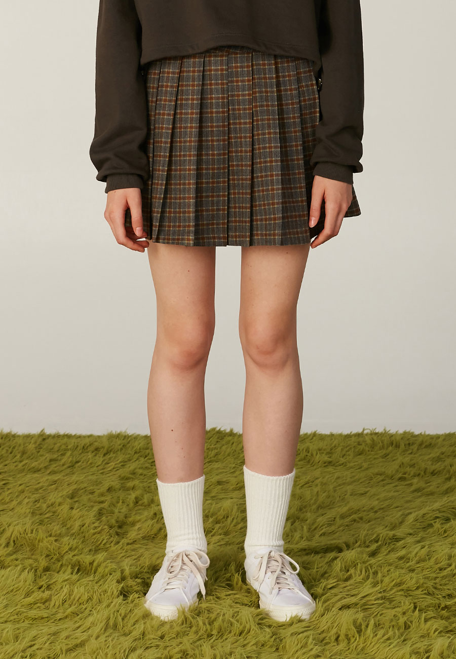 CLOTTYLOGO LABEL PLEATS SKIRT[GREY]