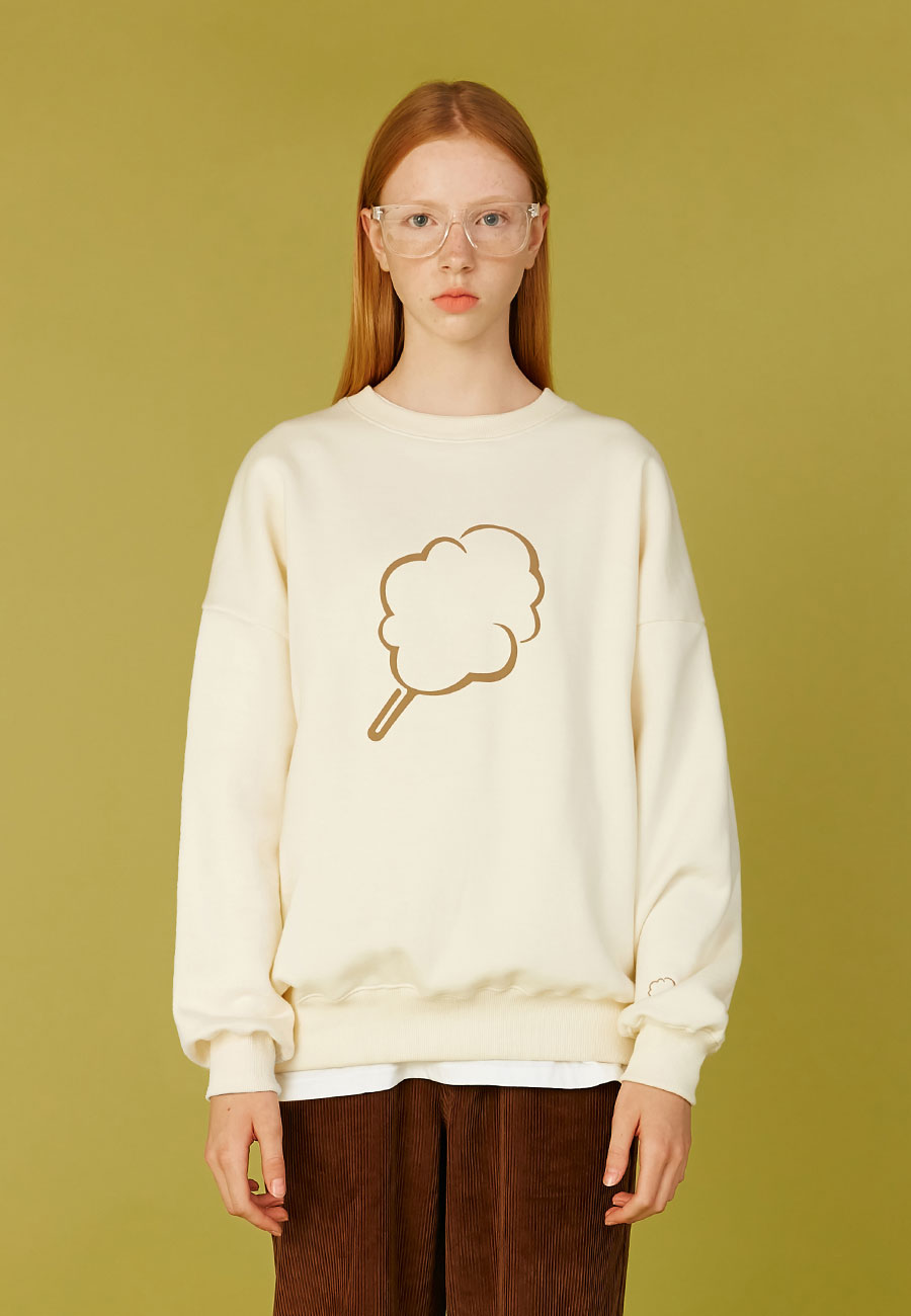 CLOTTYBIG CC OUTLINE SWEAT-SHIRT[CREAM]