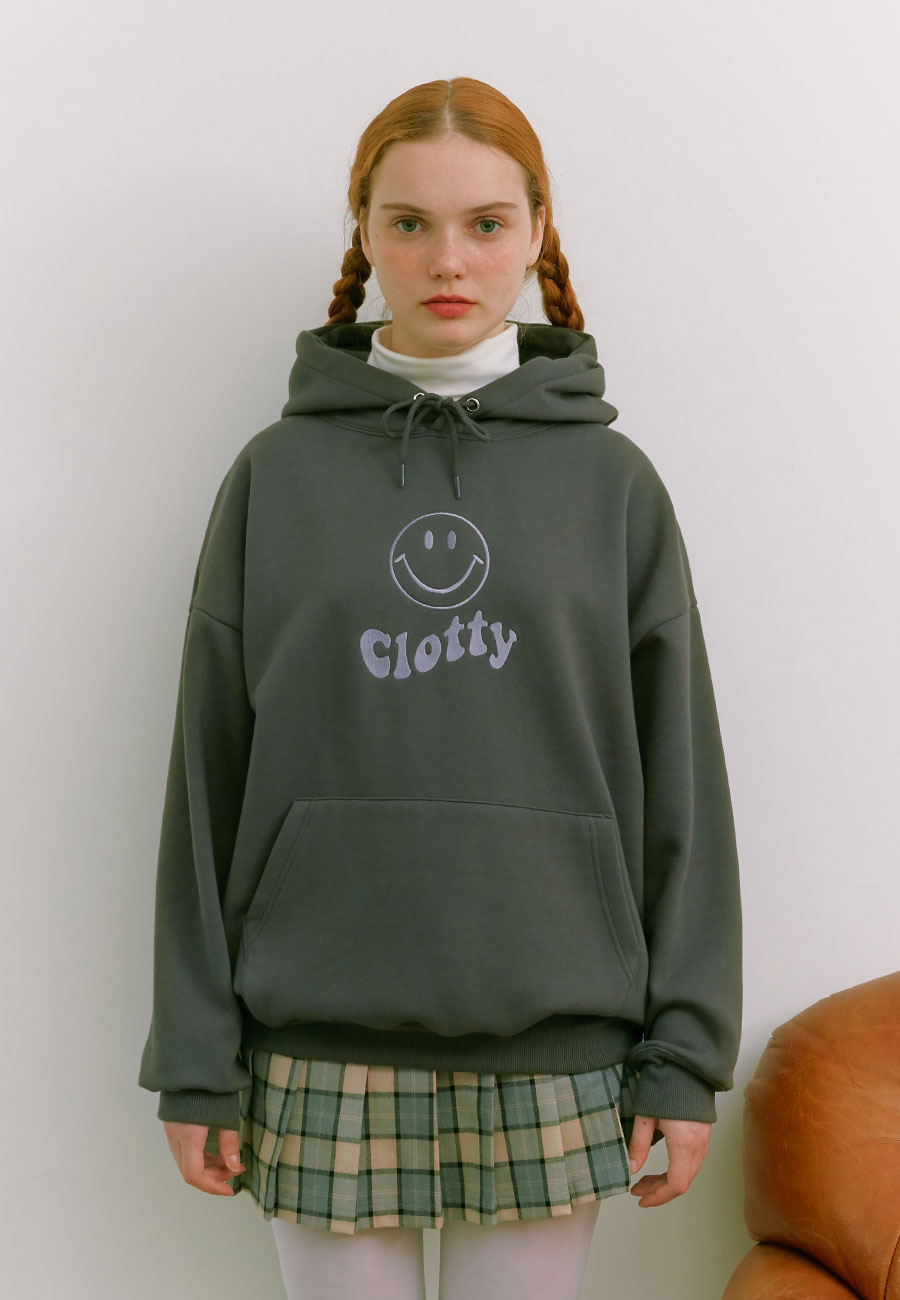 CLOTTYOUTLINE SMILE WAVE LOGO HOODIE[CHARCOAL]