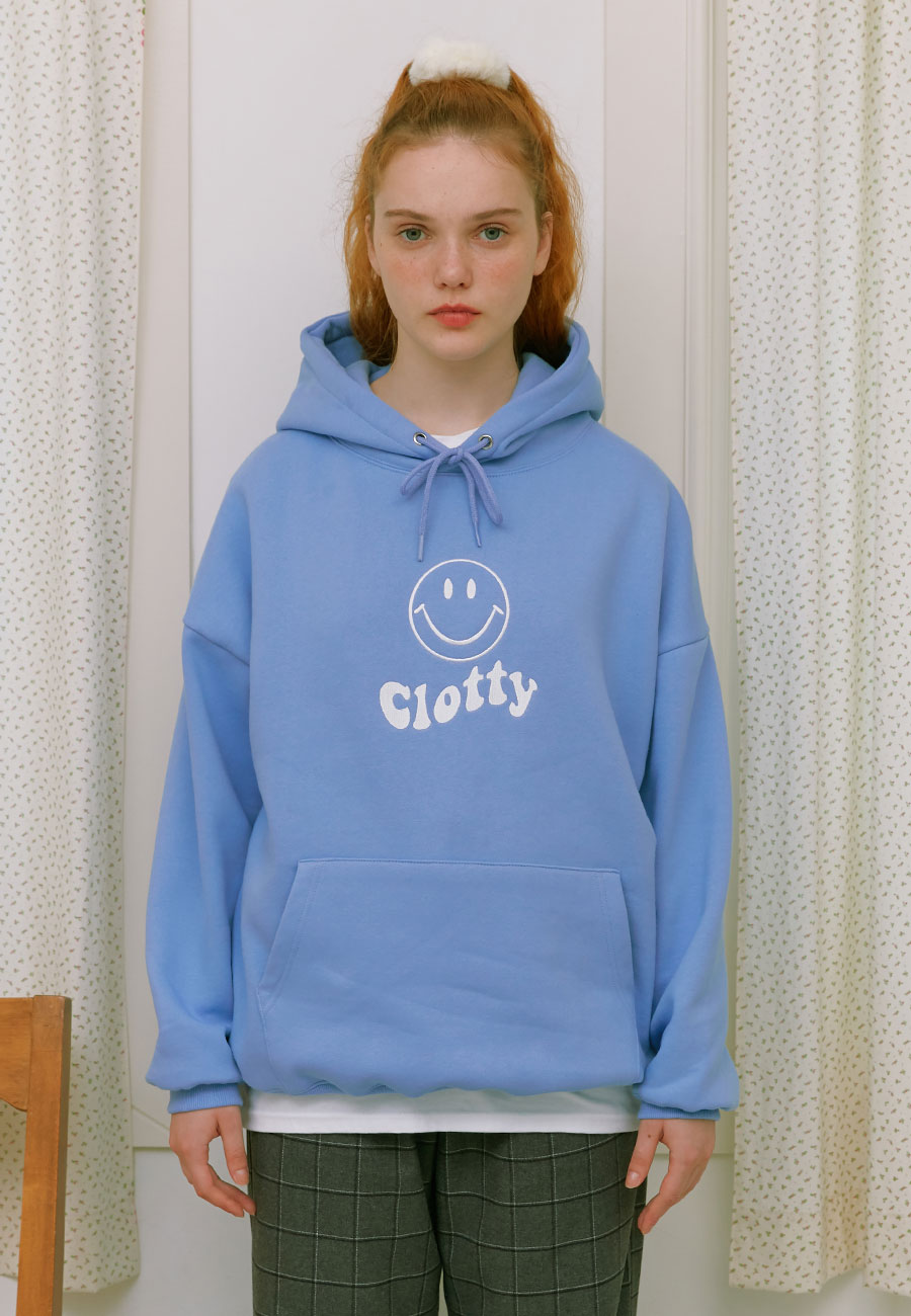 CLOTTYOUTLINE SMILE WAVE LOGO HOODIE[BLUE]